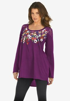 Floral-Print Lace Tunic,