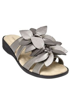 Paula Flower Sandal by Comfortview®, GUNMETAL, hi-res