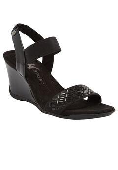 Love Me Wedge Sandals by Anne Klein®, BLACK, hi-res