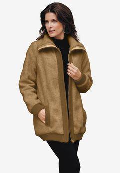 Textured Fleece Bomber Coat,