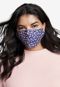 Face Mask, NAVY DITSY FLORAL