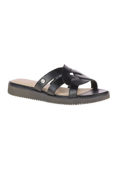 Briard Braid Slide by Hush Puppies®, BLACK LEATHER, hi-res