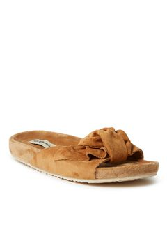Megan Microsuede Bow Molded Footbed Slide by Dearfoams,
