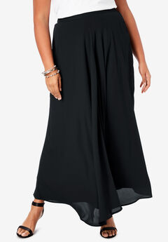 Georgette Maxi Skirt, BLACK