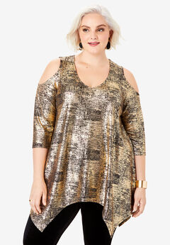 Metallic Cold-Shoulder Tunic,