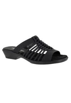 Nola Sandals by Easy Street®, BLACK LINEN PRINT, hi-res