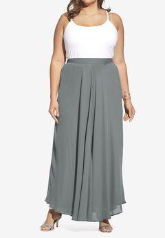 Georgette Maxi Skirt, GUNMETAL