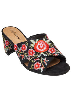 Rioux Mules by Comfortview®, BLACK EMBROIDERY, hi-res