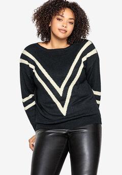 Chevron Stripe Pullover Castaluna by La Redoute, BLACK IVORY