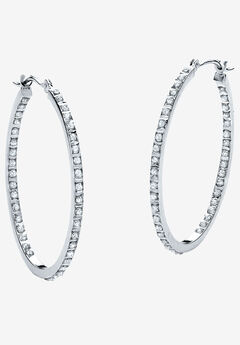 Platinum & Sterling Silver Hoop Earrings with Diamond Accent,