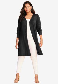 Fine Gauge Convertible Tie-Front Cardigan, BLACK