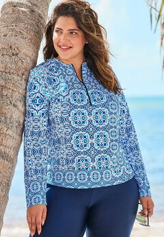 Zip-Front Long Sleeve Swim Tee with Contrast Zipper, ROYAL BLUE PATCHWORK