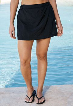 Taslon® Swim Skirt, BLACK, hi-res