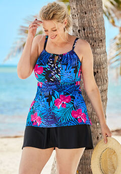Keyhole Tankini Top with Empire Waist,