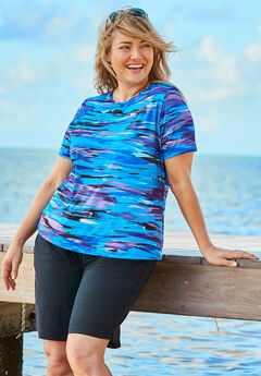 The Swim Tee, BLUE WAVE ABSTRACT