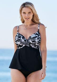 Tankini Top with Molded Cups, BLACK WHITE PRINT