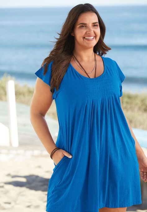 Box-Pleat Cover Up| Plus Size Swimsuit Cover Ups | Woman Within
