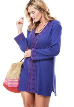 Crochet-trimmed gauze swim cover-up,