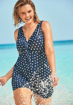Twist-Front Swim Dress, NAVY DOTS
