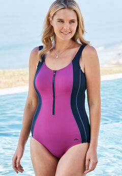 Zip-Front Swimsuit, NAVY BERRY, hi-res