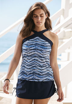 High-Neck Tankini Top By PB Sport by Penbrooke®, NAVY PRINT, hi-res