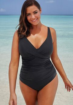 V-Neck One Piece Swimsuit,