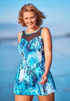 Mesh-Trim Swim Dress, BLUE ABSTRACT