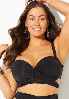 GabiFresh Cup Sized Wrap Underwire Bikini Top, BLACK