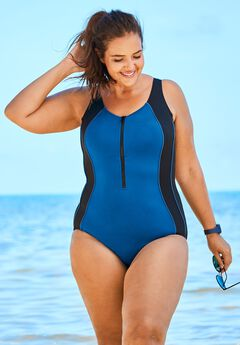 Zip-Front One-Piece with Tummy Control,