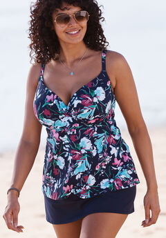 Bra-Sized Wrap Tankini, NAVY MULTI, hi-res