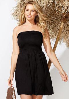 Jenna Bandeau Cover Up Dress, BLACK
