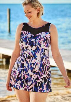 Mesh-Trim Swimdress with Tummy Control, BLUE PINK FLORAL