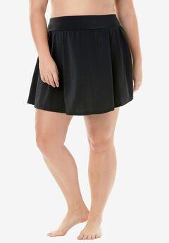 Boy-Short Swim Skirt, BLACK, hi-res