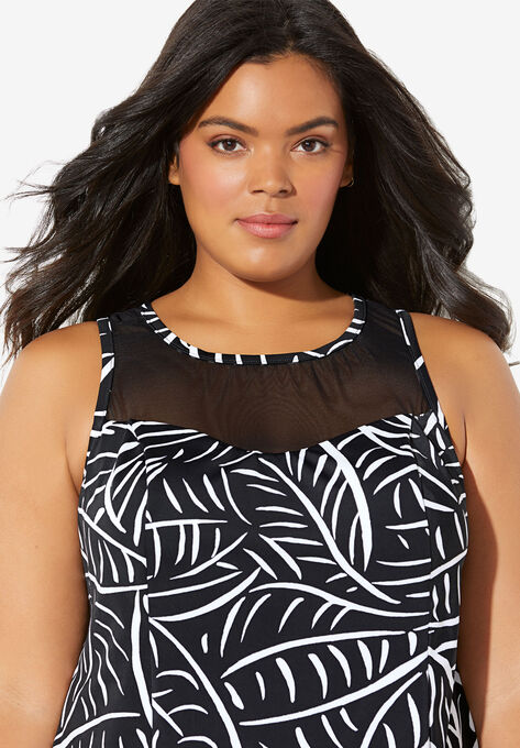 bf976096ec5f7 High-Neck Swim Tankini Top by Trimshaper® by Miraclebrand| Plus Size ...