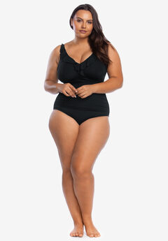 Ruffle Surplice One-Piece by Chaps,