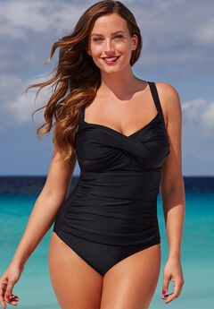 Ruched Twist Front One Piece Swimsuit,
