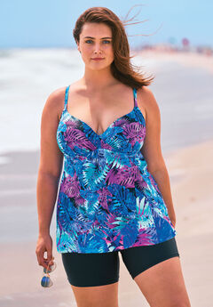 Wrap Swim Tankini Top in Bra Sizes, BLUE PALM PRINT