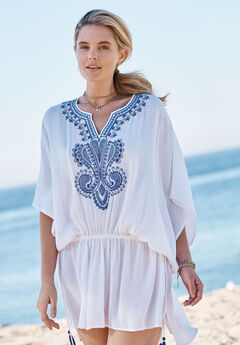 Embroidered Tunic Swim Coverup, WHITE BLUE EMBROIDERY, hi-res