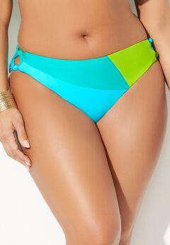 Romancer Colorblock Bikini Bottom, NEON MINT OASIS