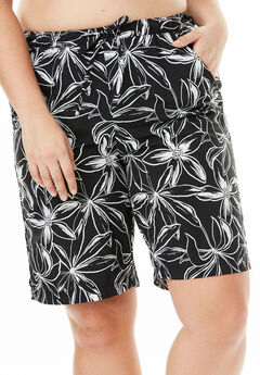 Taslon® Swim Board Shorts, BLACK WHITE FLOWER, hi-res