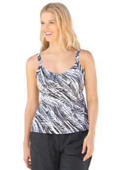 Print tankini swim top, by Swim 365®, BLACK TIE DYE, hi-res