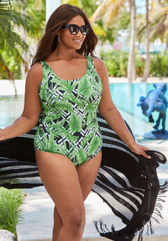 One-Piece Tank Swimsuit with Adjustable Straps,