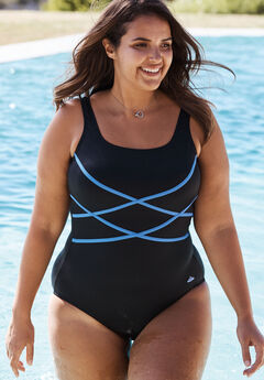 Aquabelle Criss Cross Maillot, BLACK PERI, hi-res