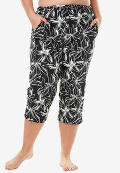 Taslon® Capri Pants, BLACK WHITE FLOWER
