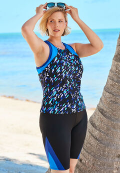 Colorblock Tankini Top with Sun Protection,