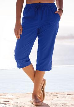 Taslon® Capri Pants, DEEP BLUE, hi-res
