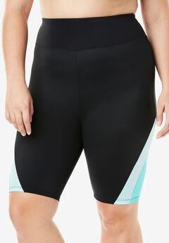 Colorblock Swim Shorts, BLACK SEAFOAM, hi-res