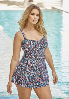 Twist-Front Swim Dress,