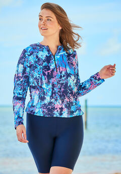 Long-Sleeve Swim Tee with Contrast Zipper, BLUE PINK ABSTRACT