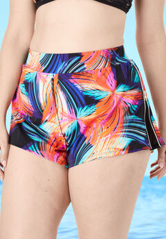 Side-Zip Swim Short with Built-In Brief, ELECTRIC MULTI COLOR BRUSHSTROKE